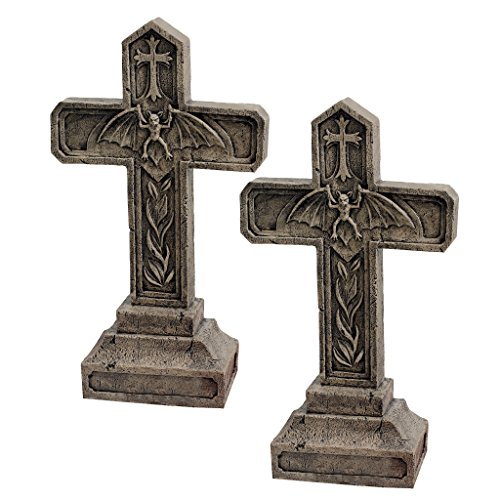 Design Toscano Balkan Vampire Blood Cross Statue: Set of Two - Graveyard Cross Statue - Halloween -