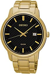 Seiko SUR200 Gold Tone Stainless Steel Black Dial 100M Men's Watch