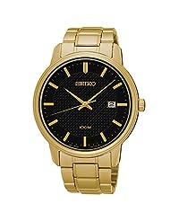 Seiko SUR200 Gold Tone Stainless Steel Black Dial 100M Men's Watch