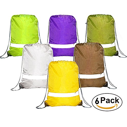 Drawstring Backpack Bags Reflective 10 Pack, Promotional Sport Gym Sack Cinch Bag (Royal Blue,Black,Red,Green,Green Camo) (6 MIX)