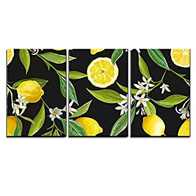 3 Piece Canvas Wall Art - Vector - Seamless Pattern. Lemon Fruits Background. Floral Pattern - Modern Home Art Stretched and Framed Ready to Hang - 24