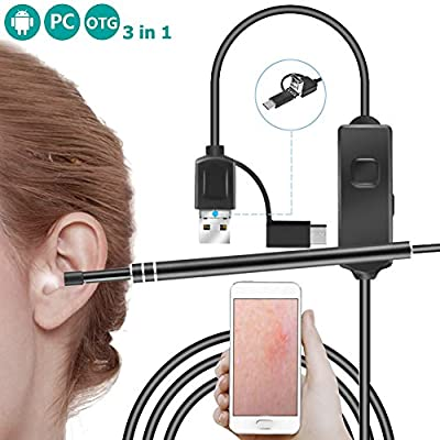 Ear Endoscope, Monocho Mini Otoscope 3 in 1 Borescope Inspection Camera Waterproof Ear Scope Visual Earwax Clean Tool with 6 Adjustable LED Light for Anddriod Micro, Type-c, USB PC