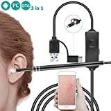 3 in 1 USB Otoscope, Mini Ear Diagnostic Borescope, HD Inspection Endoscope Camera with Ear Wax Remover 6 LED Light for Micro Usb/Type C/Usb, Android Phone/Pad, Windows Pc