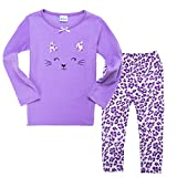 Little Girls Pajamas, Kids Clothing Set, Stereo Cat Face Cotton T-shirt + Pants (6T)
