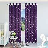 Cheap Kotile Thick Room Darkening Curtains for Girls Bedroom, Foil Print Star Patern Grommet Window Curtain Drapes for Nersery Room, W52 x L84, 2 Panels, Royal Purple