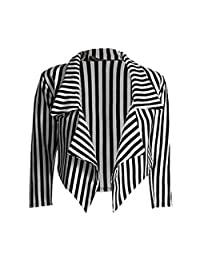 Ladies Casual Black and White Striped Cropped Waterfall Blazer Jacket Coat