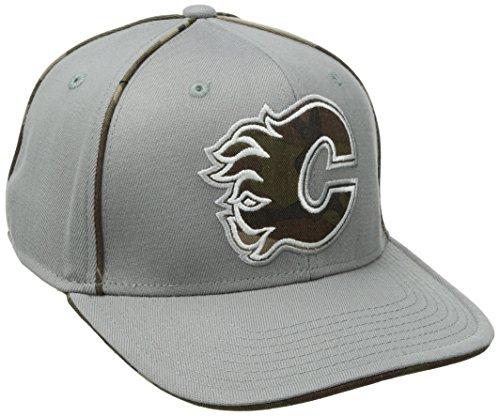 fan products of NHL Calgary Flames Men's SP17 Gray Camo Structured Flex Cap, Gray, Small/Medium