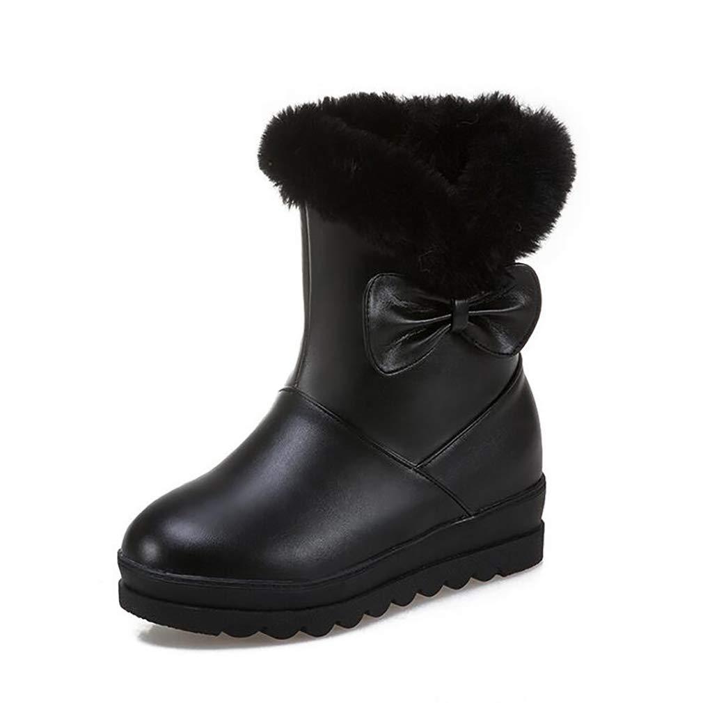 Hy Frauen Schuhe Künstliche PU Dicke Untere Schneeschuhe Stiefel Damen Flache Ferse Stiefelies Große Größe Stiefelies Stiefeletten Im Freien Skifahren Schuhe (Farbe   Schwarz Größe   43)