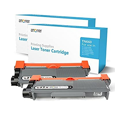 Attoner Compatible Toner Cartridge Replacement for Brother TN660 (Black, 2-Pack), for Use In Brother HL-2380/2310/2360/630/2540/2700/2365/2355 Printers
