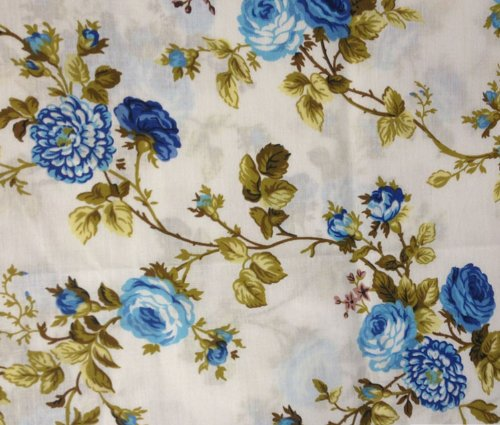 (Floral Rose Blue Poly Cotton 60 Inch Fabric By the Yard (F.E.))