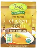 Pacific Foods Organic Low Sodium Chicken Broth, 4 Count, 32 Ounce Cartons (Pack of 24)
