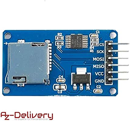 AZDelivery SPI Reader lector de tarjeta SD TF modulo memory card shield para Arduino con eBook incluido