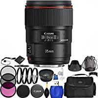 Canon EF 35mm f/1.4L II USM Lens Bundle with Manufacturer Accessories & Accessory Kit for EOS 7D Mark II, 7D, 80D, 70D, 60D, 50D, 40D, 30D, 20D, Rebel T6s, T6i, T5i, T4i, SL1, T3i, T6, T5, T3, T2i