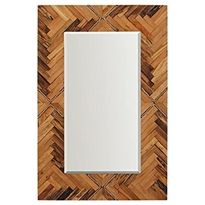 "Stone & Beam Rustic Wood and Rope Geo Mirror, 36"" H, Natural - This mirror combines geometric patterns with rustic rope accents to create a beautiful transitional piece. Simple yet striking in a natural wood finish, this rectangular mirror will add a charming modern farmhouse touch to any room. 1.5""D x 24""W x 36""H Natural and engineered woods, glass - mirrors-bedroom-decor, bedroom-decor, bedroom - 51vtsDsqjJL. SS400  -"