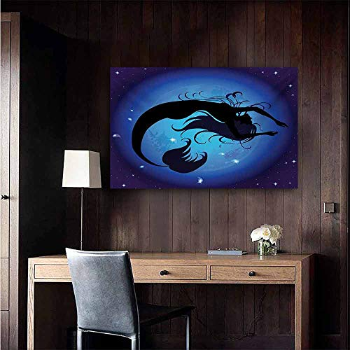 duommhome Mermaid Light Luxury American Oil Painting Silhouette of Legendary Aquatic Girl on Moon Sky Background Fictional Print Home and Everything 35