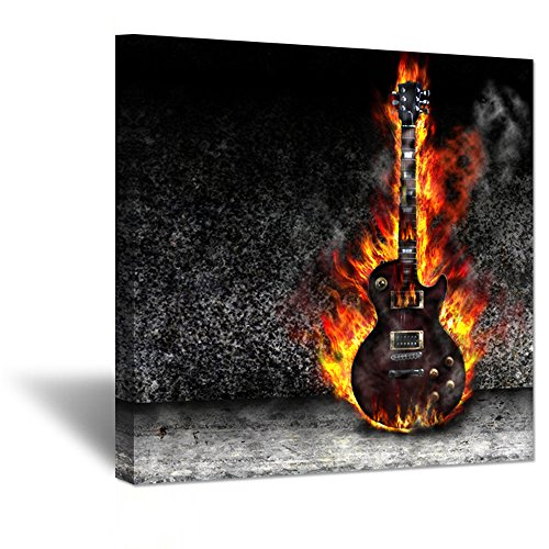 Hello Artwork Canvas Printed Music Wall Art Burning Fire Guitar Passion Poster Modern Musical Instruments Painting On Canvas Stretched And Framed For Home Decor 24