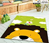 HUAHOO Lovely Lion Children Carpet Kids Rugs 39x51 Inches Cartoon Animal Carpet Baby Crawling Mat Baby Crawling Pad/ Game Mat (Love-lion, 100cmx130cm)