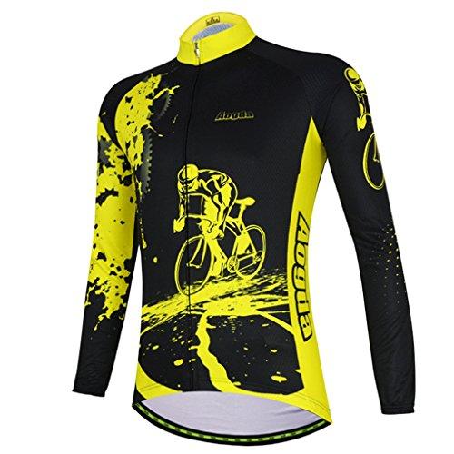 YIDUN Men's Bicycle Jersey Thermal Fleece Long Sleeve Reflective Race Black Size M
