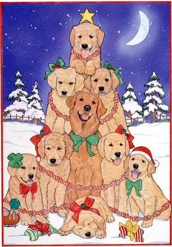 golden retriever christmas cards tree 10 holiday cards with envelopes adorable