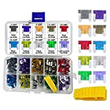 140 PCS Low Profile Mini Car Blade Fuses - MuHize Truck LP-Mini Fuse Assorted Kit (2 3 5 7.5 10 15 20 25 30 35 AMP) with Puller Tool, Car Boat Truck SUV Automotive RV Fuses Replacement