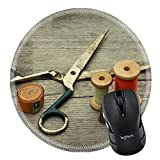 MSD Mousepad Round Mouse Pad/Mat 30240391 Vintage Background with sewing tools Sewing kit Scissors bobbins with thread tape centimeter on the old wooden background