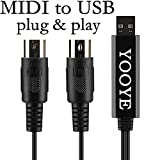 USB IN-OUT MIDI Cable Converter, PC MAC Interface Converter with MIDI Instruments,for Piano Keyboard to Laptop/ Home Music Studio No Need for Drivers Length 6.5Ft