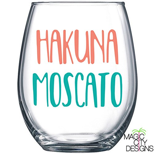 Hakuna Moscato CORAL AND MINT Stemless Wine Glass. Hakuna Moscato 21 OZ Stemless Wine Glass
