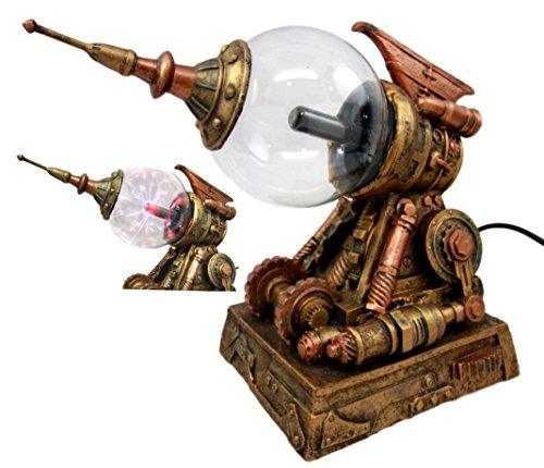 Atlantic Collectibles Steampunk Electric Plasma Laser Static Storm Ball Blaster Gun Decorative Accent Lamp Figurine 8.25″L