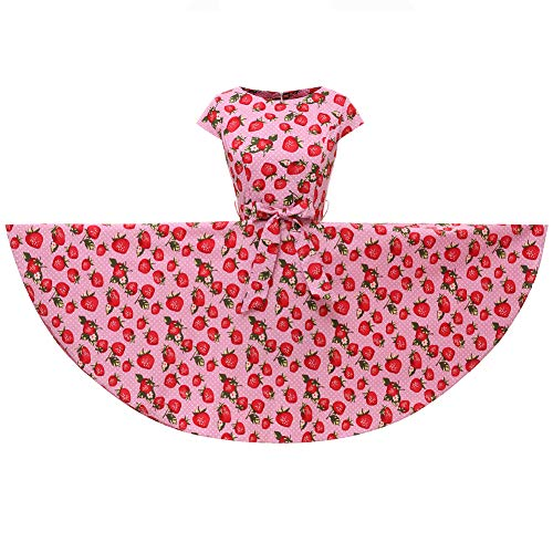 YW Cap Sleeves Polka Dot Floral 50s Style Vintage Retro Rockabilly Swing Dress Full Skirt (X-Large, Pink Dotted Strawberry) ()