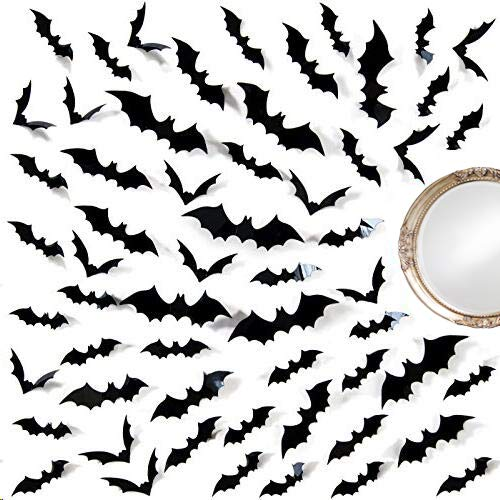 Ivenf Halloween Bat Wall Decals Stickers Decor 60 Pack 3D Bats Window Decals Bat Halloween Door Decorations