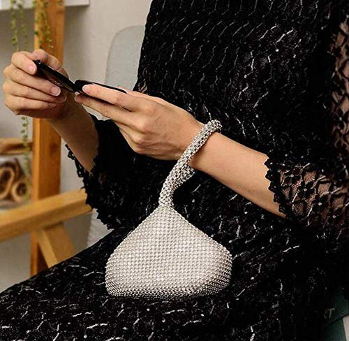 TOPCHANCES Women's Evening Clutch Bag Triangle Full Rhinestones Party Prom Wedding Purse Carrying (Sliver)