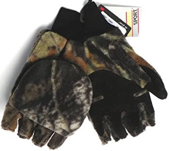 Camouflage Fleece Thinsulate Flip Top Gloves (Camo, S/M)