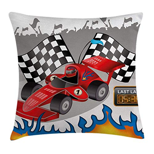 Kids Throw Pillow Cushion Cover, Race Car with Finish Line Flags Pilot and Flames with Abstract Gray Background Print,Decorative Square Throw Pillow Cushion Cover 18x18 Inch, Multicolor ()