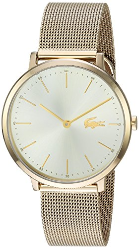 Lacoste Women's 'MOON ULTRA SLIM' Quartz and Stainless-Steel-Plated Casual Watch, Color:Gold-Toned (Model: 2001000)