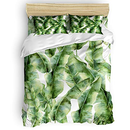 YEHO Art Gallery King Size Luxury Duvet Cover Sets Bedding Set Home Decor,Hand Drawn Banana Leaves Bed Sheet Set,4 Pcs Duvet Cover Sets for Boy/Girl with 1 Sheet+1 Duvet Cover+2 Pillowcases