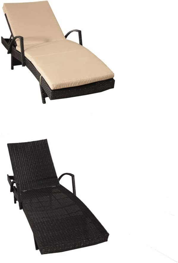 Khaki JETIME Patio Rattan Armed Lounge Chair Outdoor Wicker Garden Furniture Black Beach Swimming Pool Use Sunbed 2 Chairs and 2 Cushions and Covers