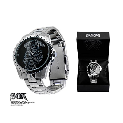 Sons Of Anarchy Etched Reaper Logo Stainless Steel Watch
