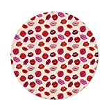 Polyester Round Tablecloth,Kiss,Vivid Colored Sexy Lips Glamour Fashion Cosmetics Make Up Theme Girls Pattern Decorative,Pink Red Rose Peach,Dining Room Kitchen Picnic Table Cloth Cover,for Outdoor I