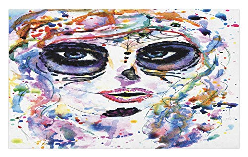 Ambesonne Sugar Skull Doormat, Halloween Girl with Sugar