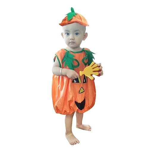 QBSM Kids Baby Halloween Pumpkin Costumes Velvet Clothing for Infant Toddler Girls Boys Party Games