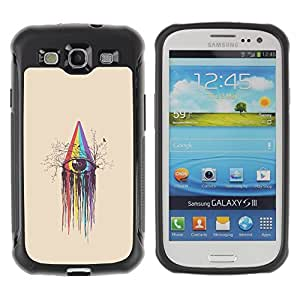Híbridos estuche rígido plástico de protección con soporte para el SAMSUNG GALAXY S3 - rainbow spectrum crayon art