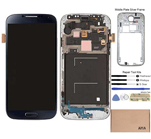 Display Touch Screen (AMOLED) Digitizer Assembly with Frame for Samsung Galaxy S4 (SIV) SGH- I337 (AT&T)/ SGH-M919 (T-Mobile)(for SAMSUNG Mobile Phone Repair Part Replacement) (Black Mist) (Tmobile Galaxy S4 Lcd Replacement)