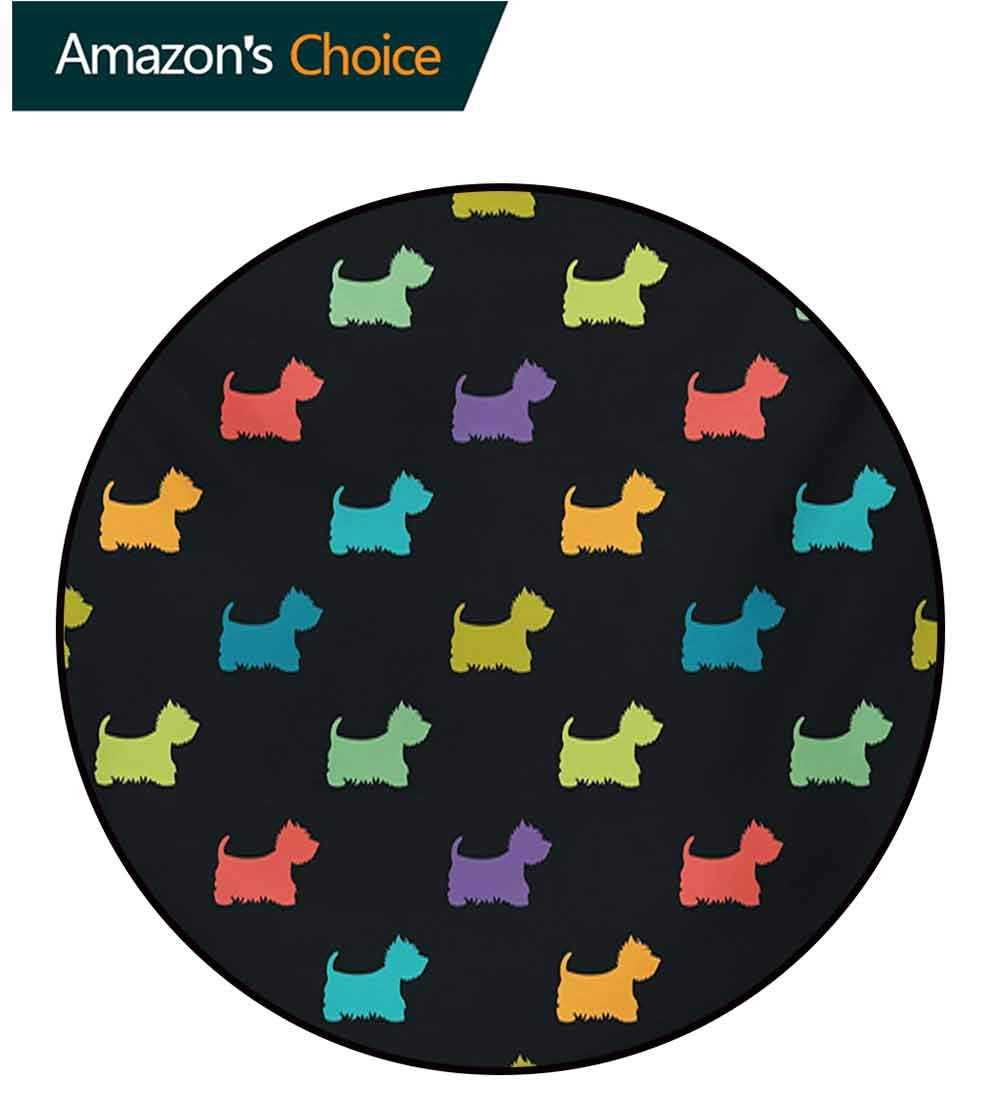 RUGSMAT Dog Lover Dining Room Home Bedroom Carpet Floor Mat,Colorful Dog Silhouettes West Highland Terriers Canine Cartoon Style Animal Fun Non Slip Rug,Diameter-71 Inch Multicolor by RUGSMAT (Image #1)