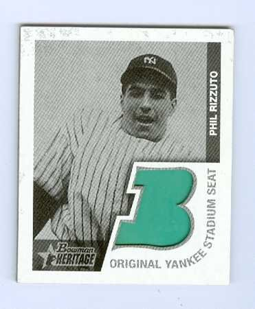 Heritage Saddles (Phil Rizzuto baseball card with piece of Yankee Stadium Seat 2001 Topps Bowman Heritage #BHMPR)
