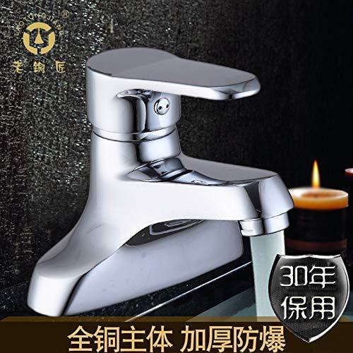 JingJingnet 洗面器の蛇口の浴室の流しのコックは冷たい水FAUCET LA10126-1を回すために大陸の銅の二重穴の熱湯および冷水の洗面器のミキサー (Color : The Brass Chrome) B07RJHKZP7 The Brass Chrome