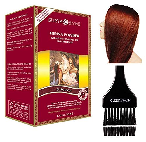 Surya Brasil All Natural HENNA Hair Color POWDER Dye, Coloring & Hair Treatment (with Brush) Brazil (BURGUNDY)