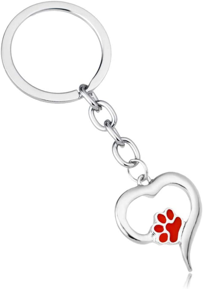 Keychain Pet Paw Print Love Heart Charm Key Chain Dog Cat Lover Jewelry Animal M