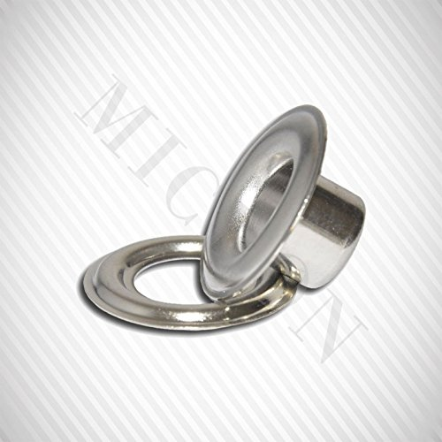 Micron Grommet Machine TEP-1, #3 (7/16'') Dies, #3 (7/16'') Grommet & Washer 500 Pairs Set. (Nickel) by Micron Group (Image #2)
