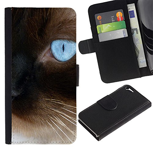 Billetera de Cuero Caso del tirón Titular de la tarjeta Carcasa Funda del zurriago para Apple Iphone 5 / 5S / Business Style Siamese Persian Blue Eye Whiskers Cars