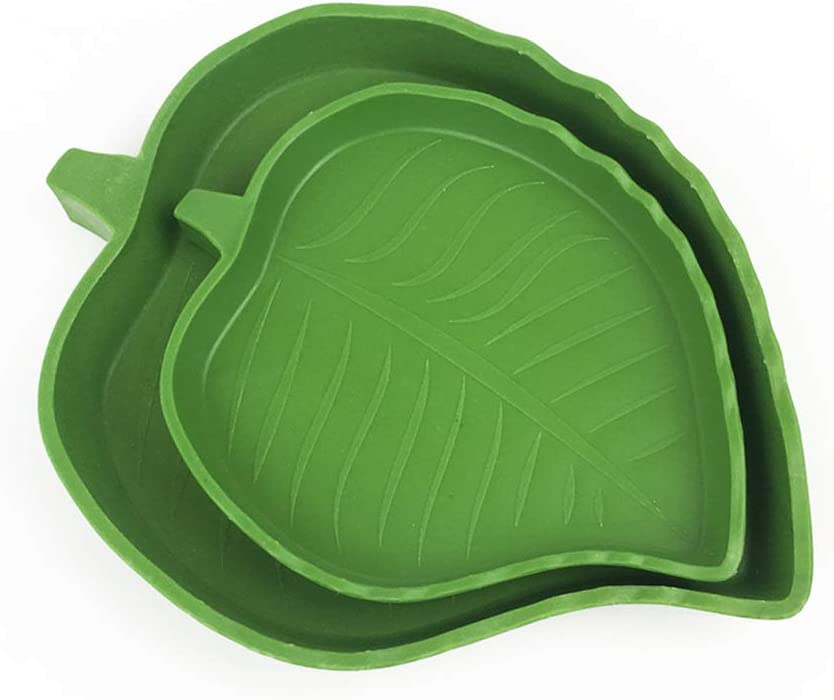 POPETPOP Reptile Leaf Water Dish-2 Pack Reptile Food Dish for Pet Aquarium Ornament Terrarium Dish Plate Lizards Tortoises or Small Reptiles Bowls